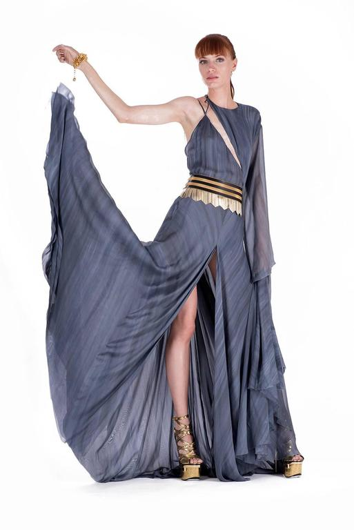 Gray New VERSACE DOVE GREY GOWN with METAL FRINGE BELT For Sale