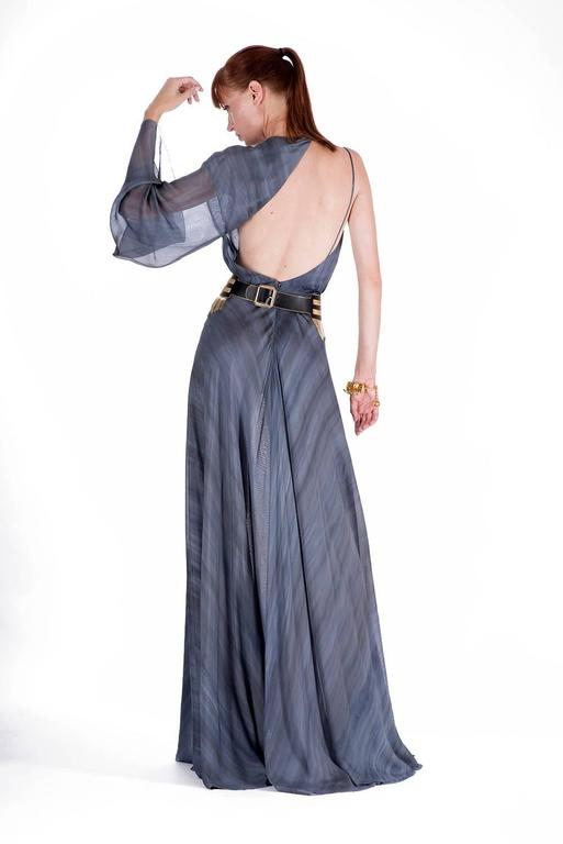 New VERSACE DOVE GREY GOWN with METAL FRINGE BELT For Sale 1