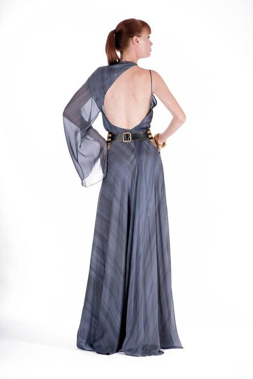 New VERSACE DOVE GREY GOWN with METAL FRINGE BELT For Sale 2
