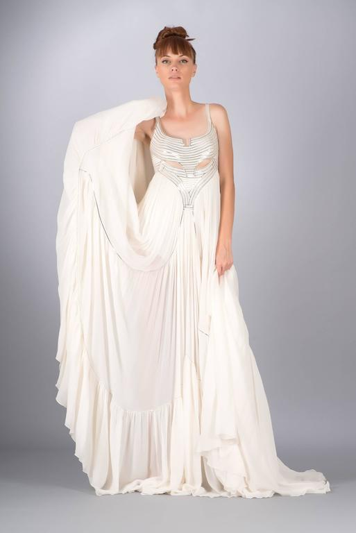 VERSACE METAL EMBELLISHED WHITE SILK GOWN New For Sale at 1stdibs