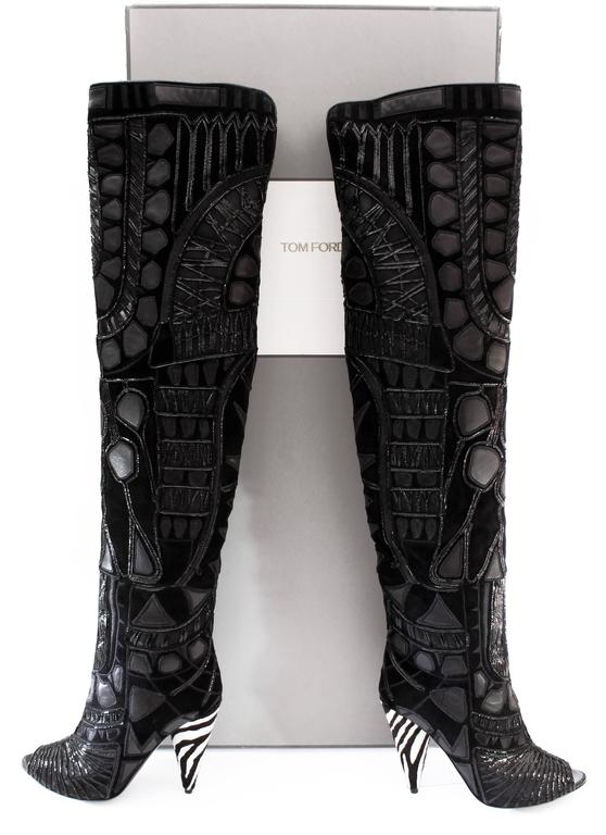 New TOM FORD BLACK OVER THE KNEE BOOTS WITH OPEN TOE 7