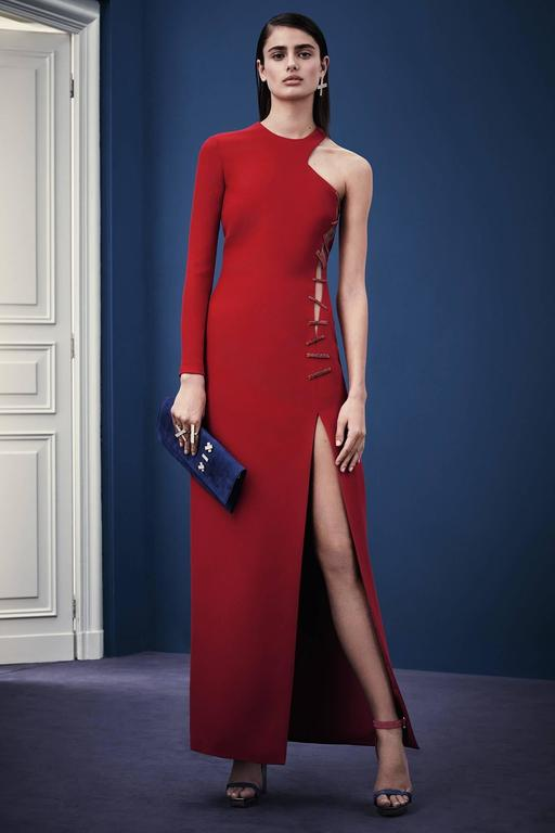 Women's Versace Red Crystal-Embellished Silk-Cady Gown  For Sale