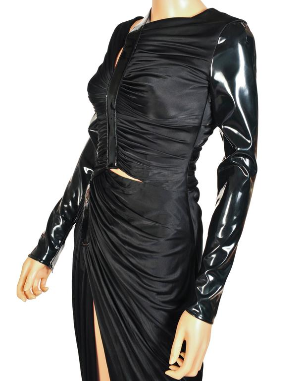 New VERSACE Hottest Black Liquid Jersey Gown With Vinyl Sleeves 3