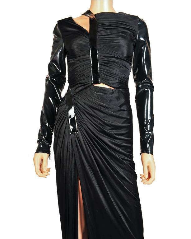 New VERSACE Hottest Black Liquid Jersey Gown With Vinyl Sleeves For Sale 1