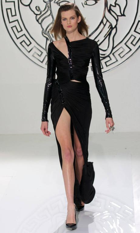 New VERSACE Hottest Black Liquid Jersey Gown With Vinyl Sleeves For Sale 4