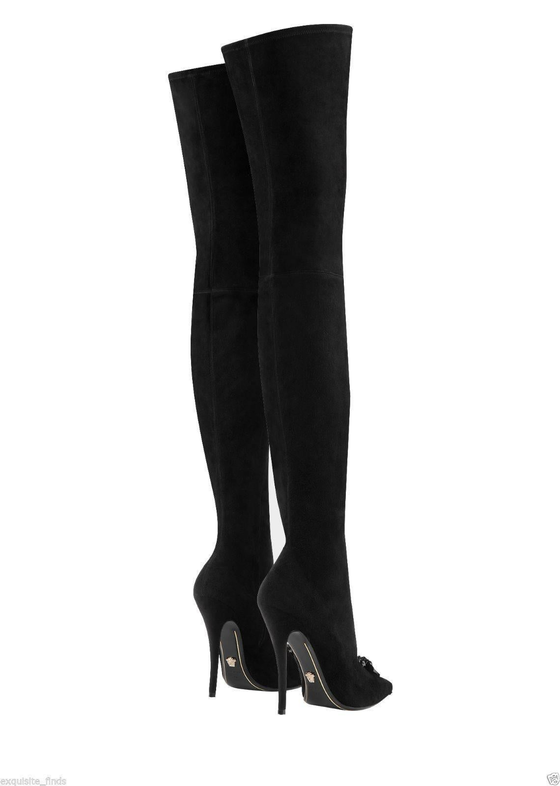 2f710fe5 Versace Palazzo Thigh High Black Suede Stiletto Boots