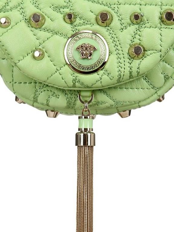 8feee361 Versace Green Baroque Studded Nappa Crossbody Shoulder Bag Clutch