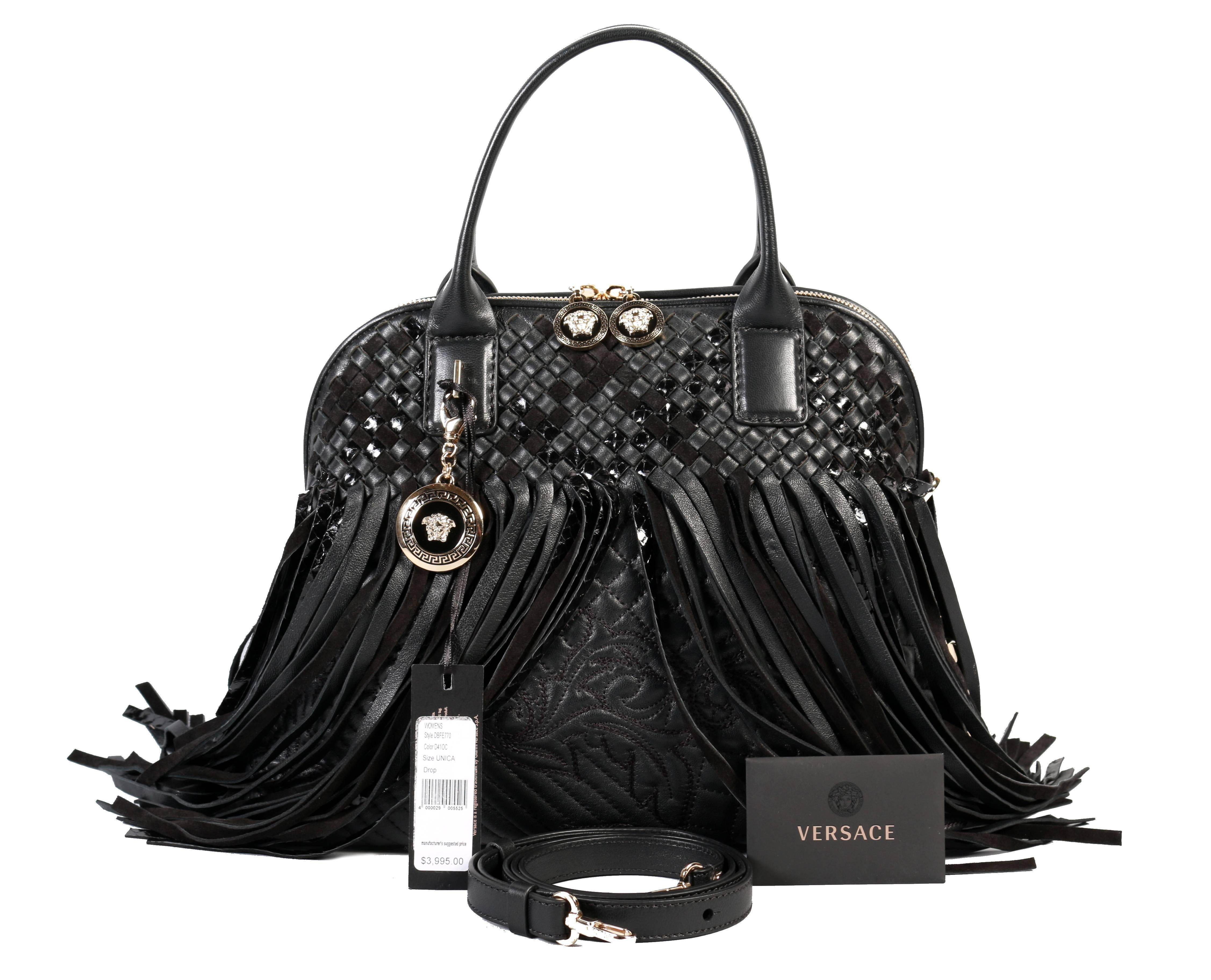 b15a6fb9ef8a7 Versace Large Black Fringed Vanitas Handbag Shoulder Bag For Sale at 1stdibs