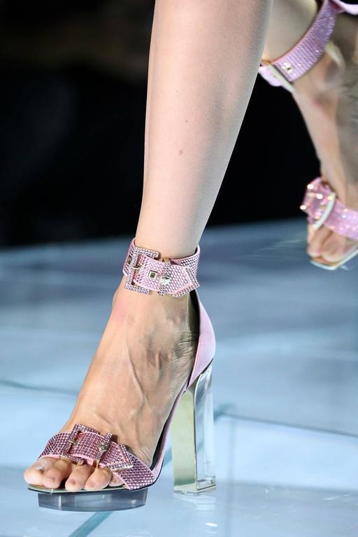 VERSACE pink crystal embellished plexi platform sandals  2