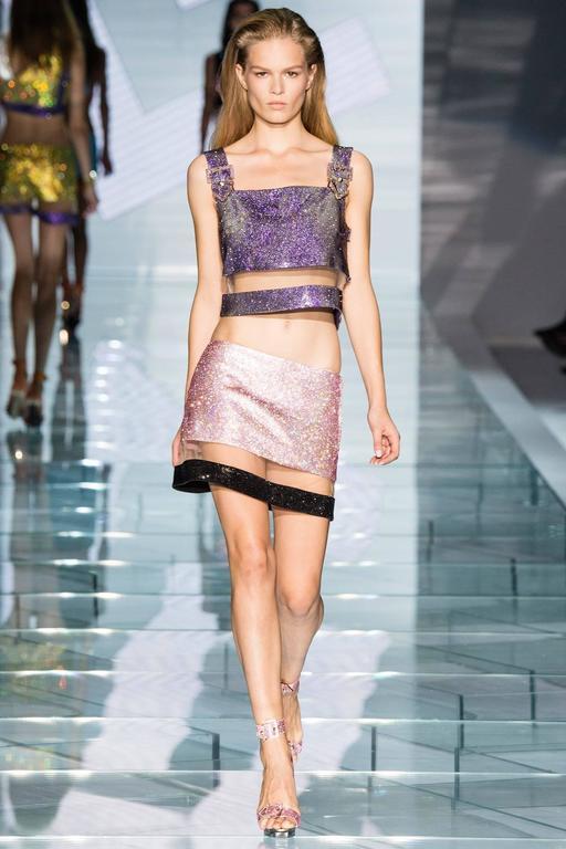 Beige VERSACE pink crystal embellished plexi platform sandals  For Sale