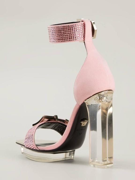 VERSACE pink crystal embellished plexi platform sandals  For Sale 1
