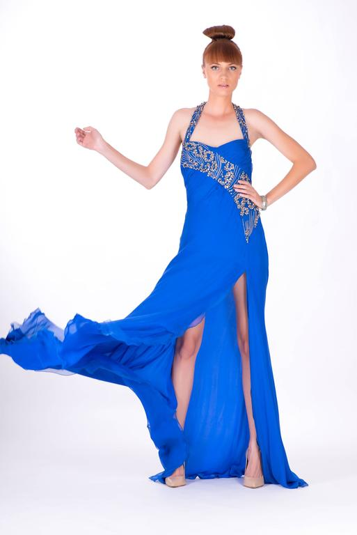 New VERSACE EMBELLISHED ROYAL BLUE CHIFFON SILK GOWN 3