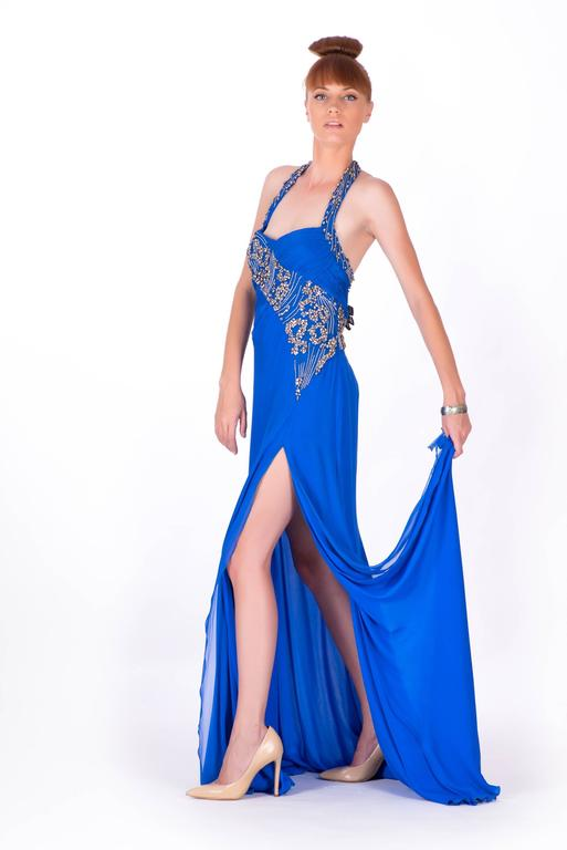 New VERSACE EMBELLISHED ROYAL BLUE CHIFFON SILK GOWN In New never worn Condition For Sale In Montgomery, TX