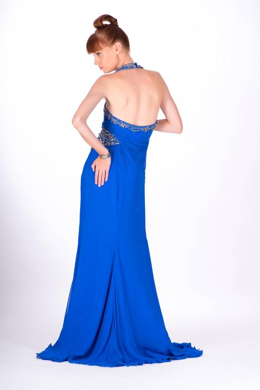 New VERSACE EMBELLISHED ROYAL BLUE CHIFFON SILK GOWN For Sale at 1stdibs