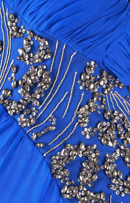 New VERSACE EMBELLISHED ROYAL BLUE CHIFFON SILK GOWN For Sale 1