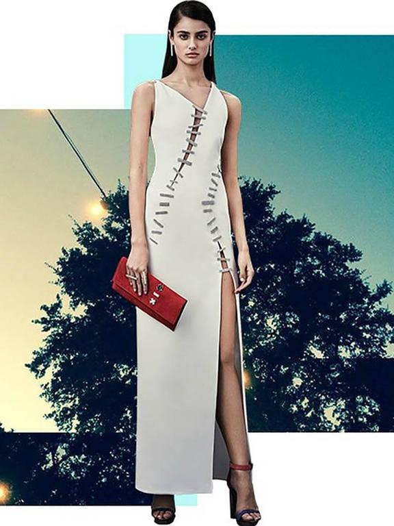 New Versace White Crystal-Embellished Silk Gown  3