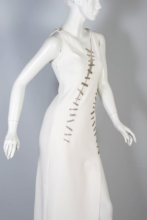 New Versace White Crystal-Embellished Silk Gown  4