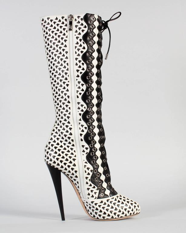 Black VERSACE WHITE PERFORATED LEATHER PLATFORM BOOTS sz 40 For Sale