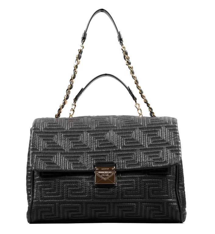 GIANNI VERSACE COUTURE    Quilted  leather large day bag with geometric design,     golden metal chain and black leather shoulder strap,    fastening with leather flap and golden metal tongue with logo.     Internal lining, open pocket and zipped