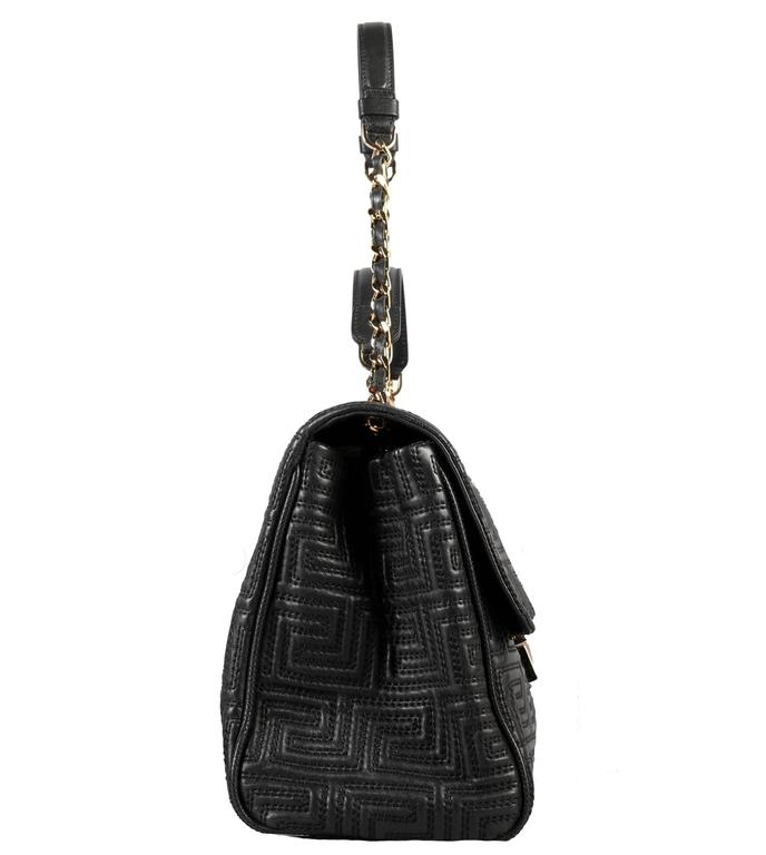 Black GIANNI VERSACE COUTURE large black quilted leather shoulder day bag For Sale