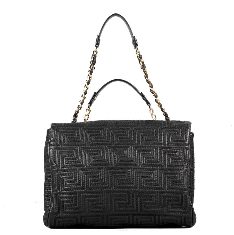GIANNI VERSACE COUTURE large black quilted leather shoulder day bag In New Condition For Sale In Montgomery, TX