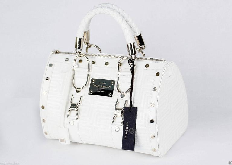 f110473b New GIANNI VERSACE COUTURE White Quilted Patent Leather