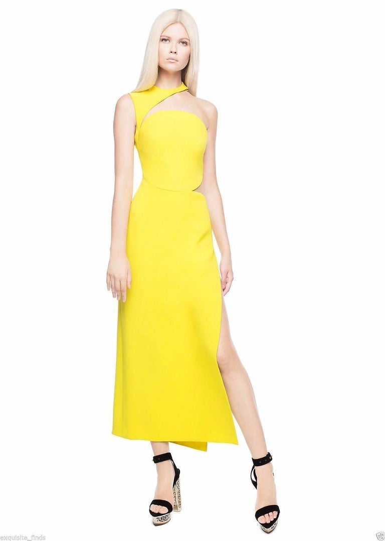 New Versace Yellow Cut Out Long Dress as seen on Minnie 3
