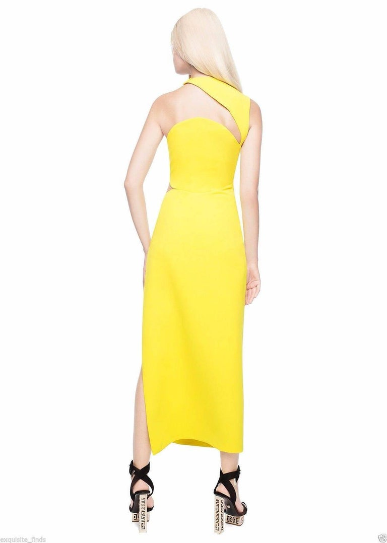 New Versace Yellow Cut Out Long Dress as seen on Minnie 4