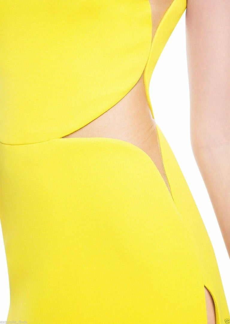 New Versace Yellow Cut Out Long Dress as seen on Minnie 5