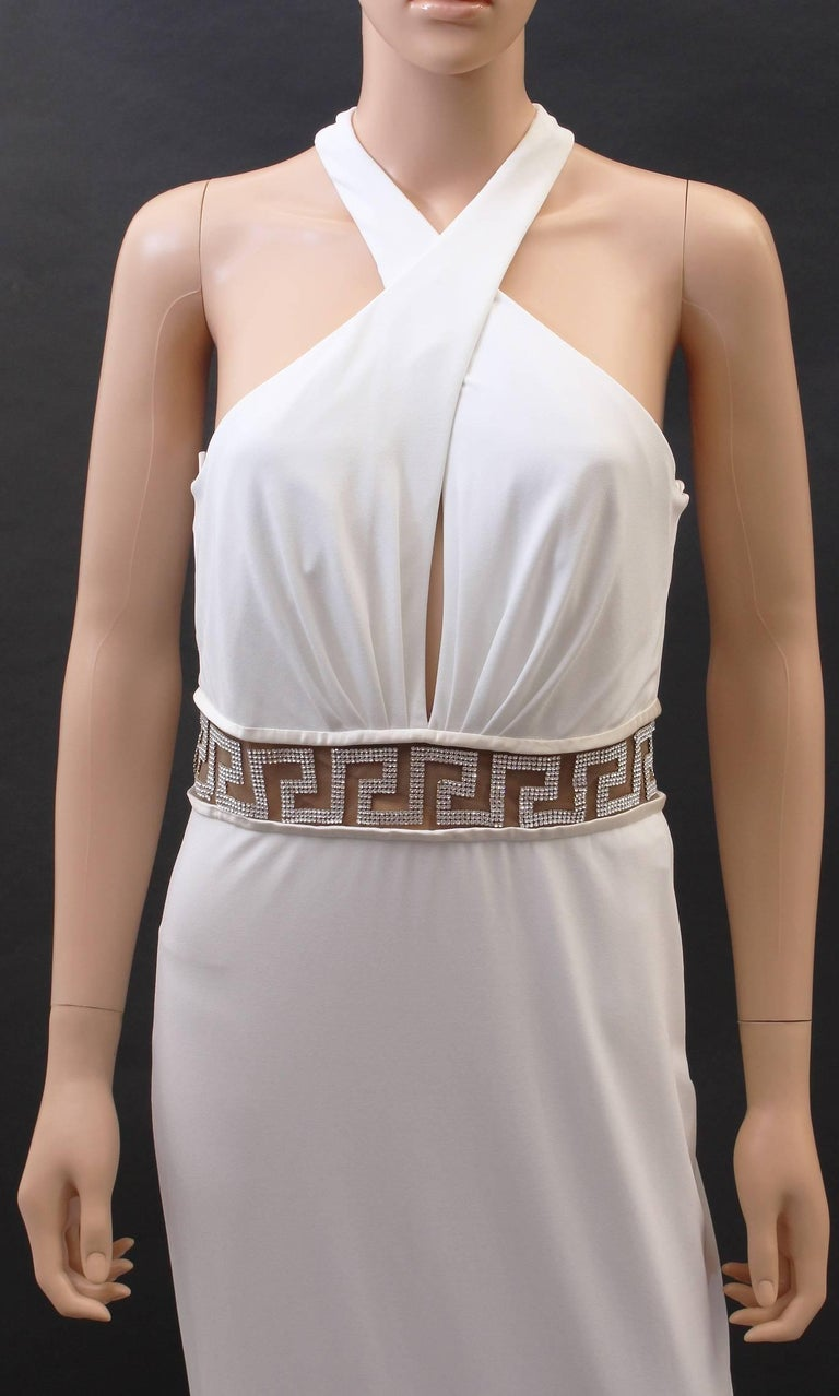 Versace Crystal Embellished white gown  IT size 44 - US 8  New, with tags.