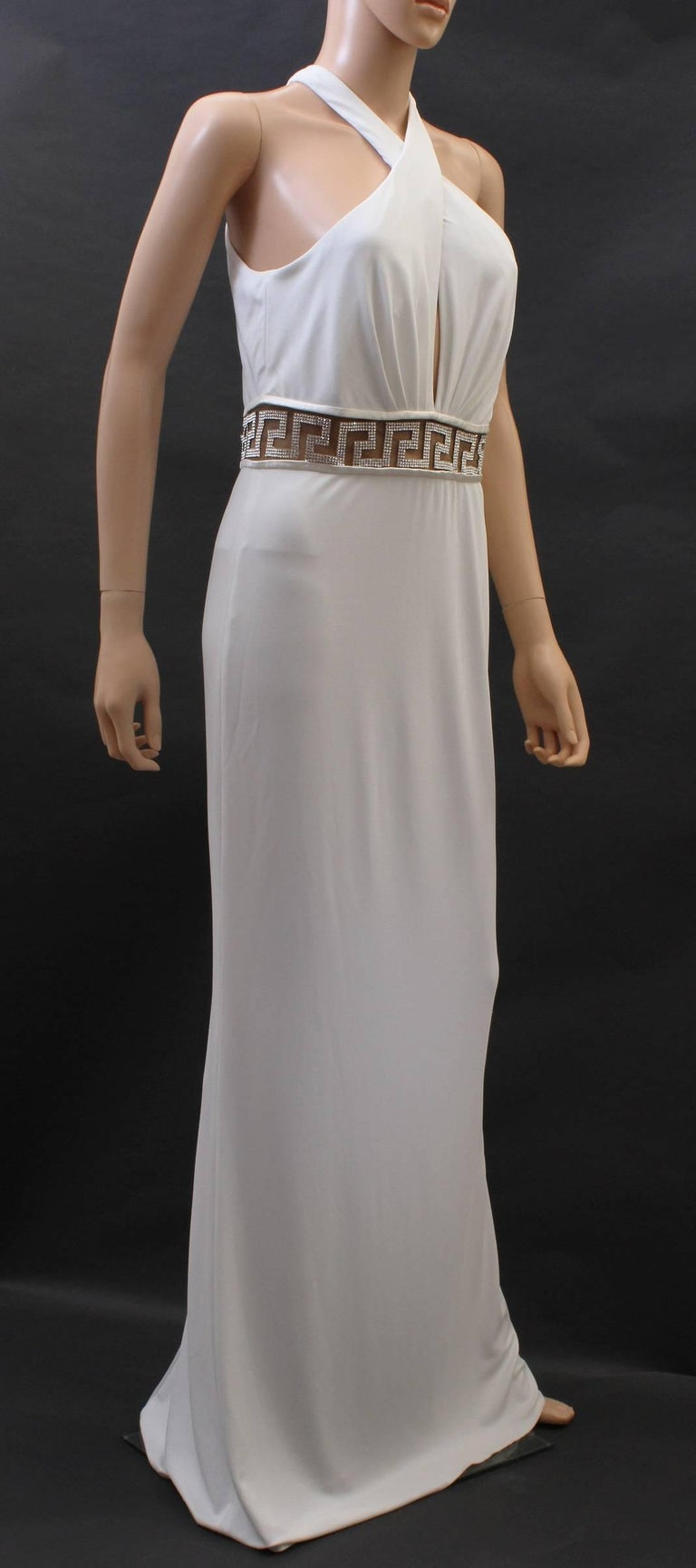 Gray Versace Crystal Embellished white gown For Sale