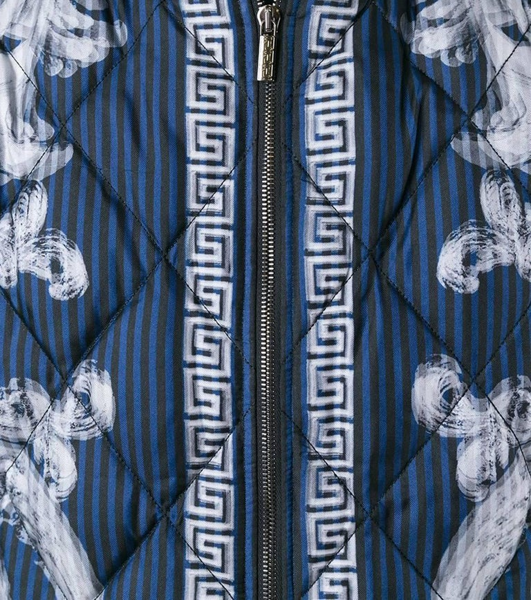 Black VERSACE 'Lenticular Foulard' QUILTED SILK DOWN BOMBER JACKET for MEN For Sale