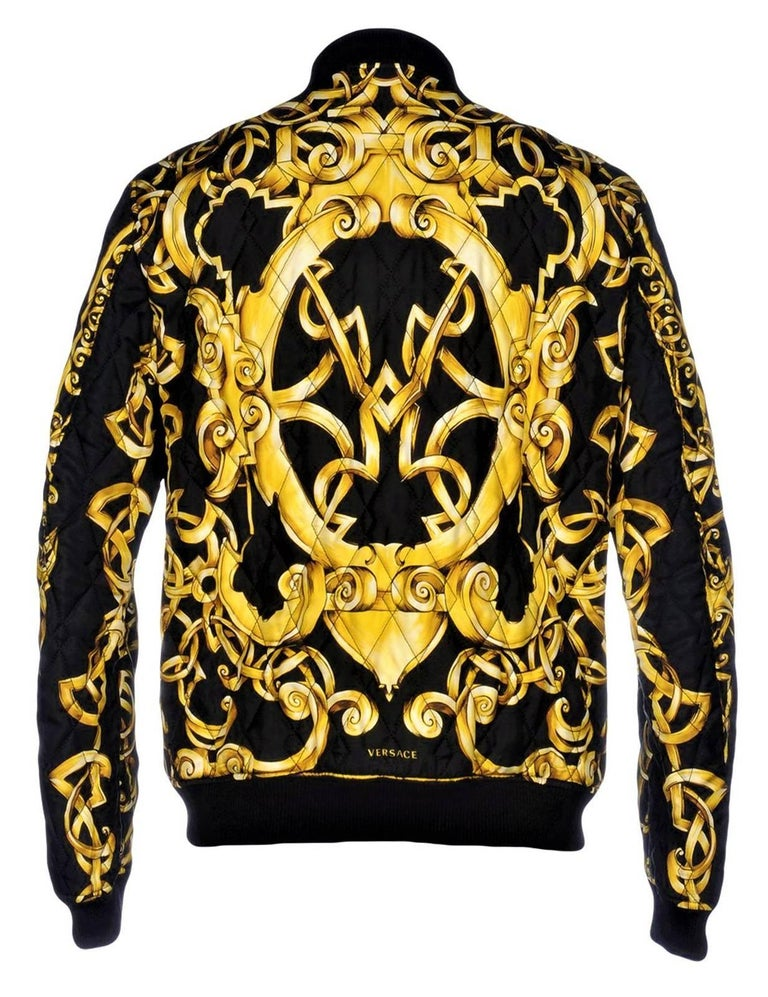 Black VERSACE QUILTED 100% SILK BOMBER JACKET for MEN For Sale