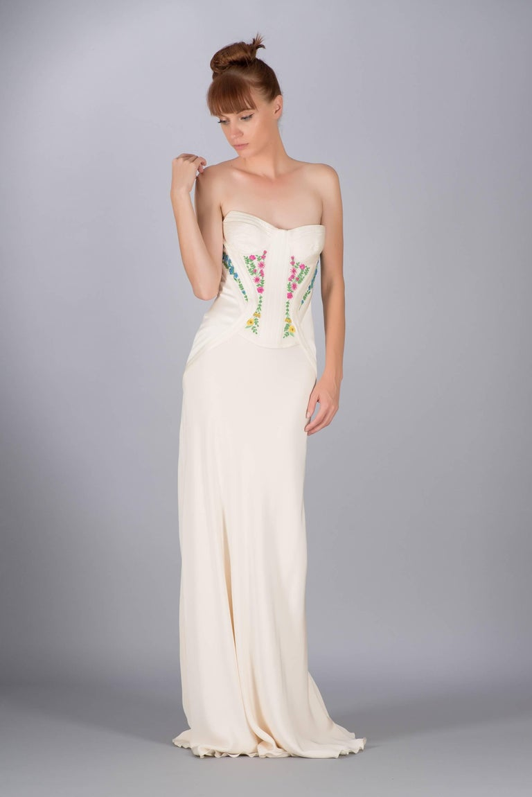 Revived from Gianni Versace archive! EMBROIDERED CORSET SILK LONG DRESS 4