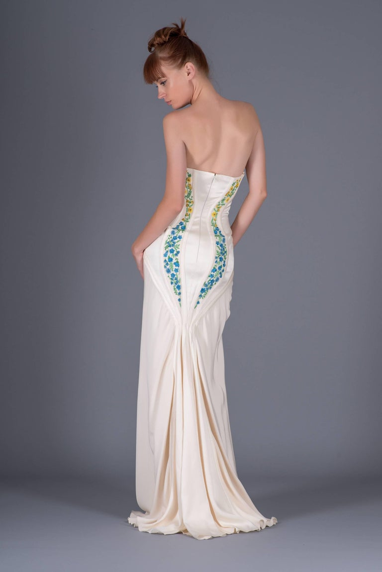 Revived from Gianni Versace archive! EMBROIDERED CORSET SILK LONG DRESS 5
