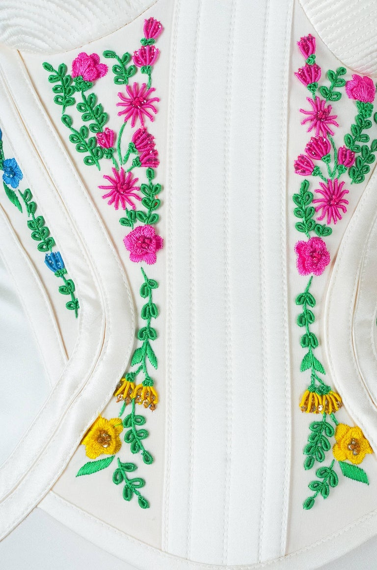Revived from Gianni Versace archive! EMBROIDERED CORSET SILK LONG DRESS 6