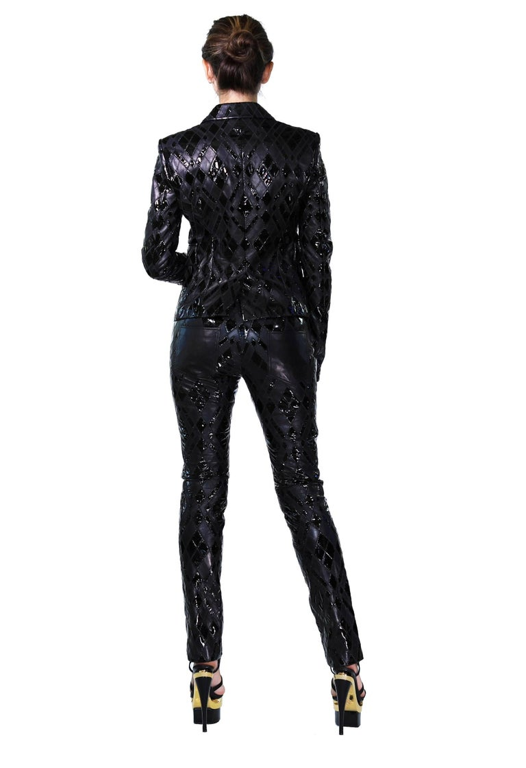Women's Versace Black Patchwork Leather Pant Suit For Sale