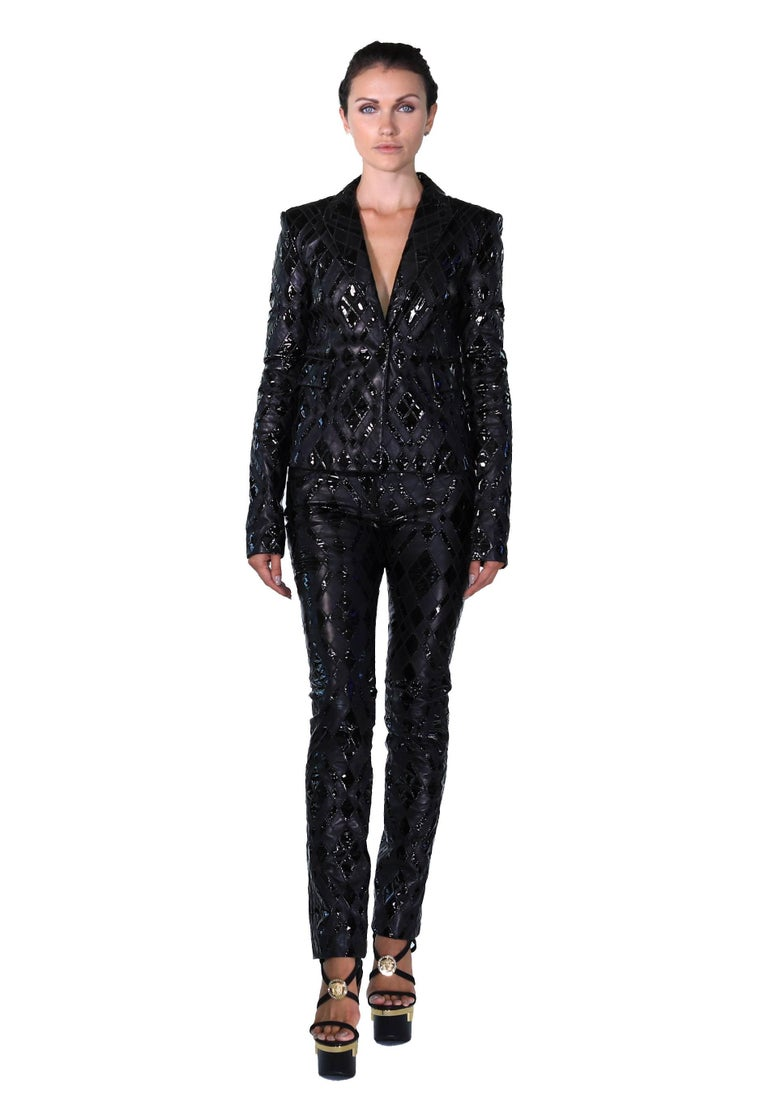 Versace Black Patchwork Leather Pant Suit For Sale 1