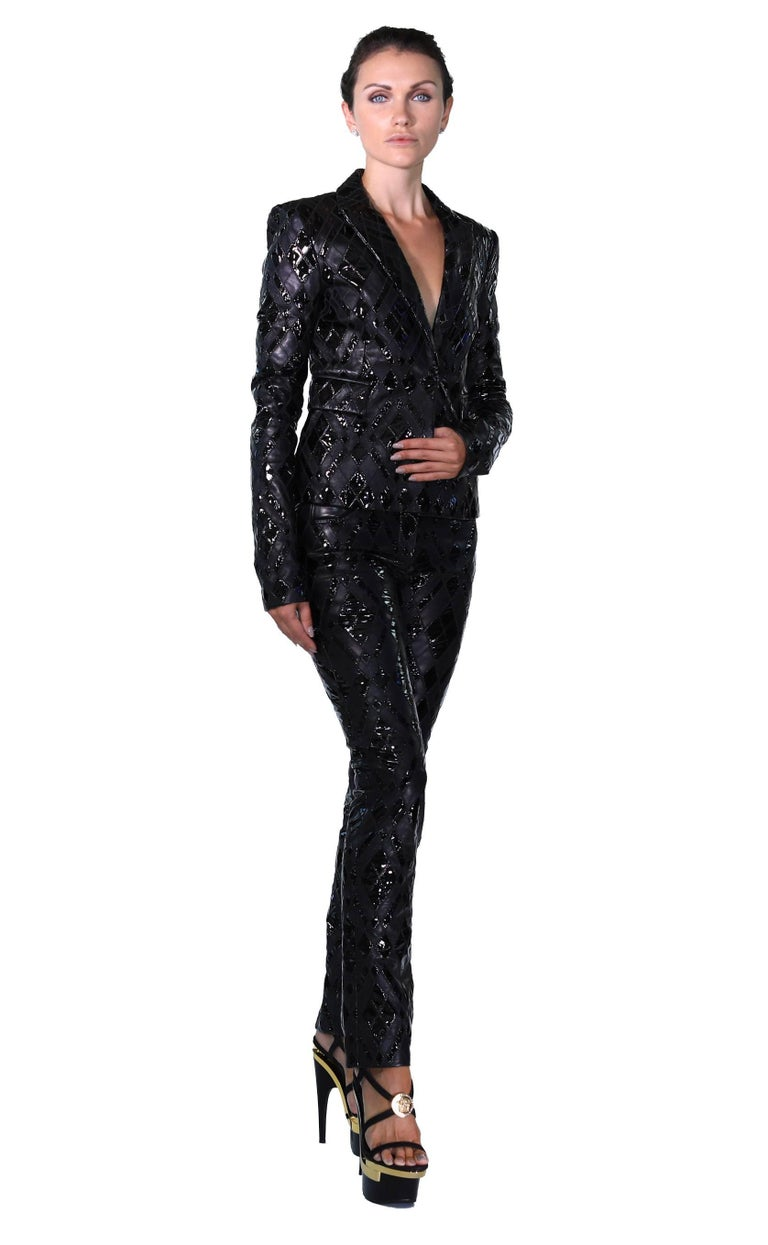 Versace Black Patchwork Leather Pant Suit For Sale 2