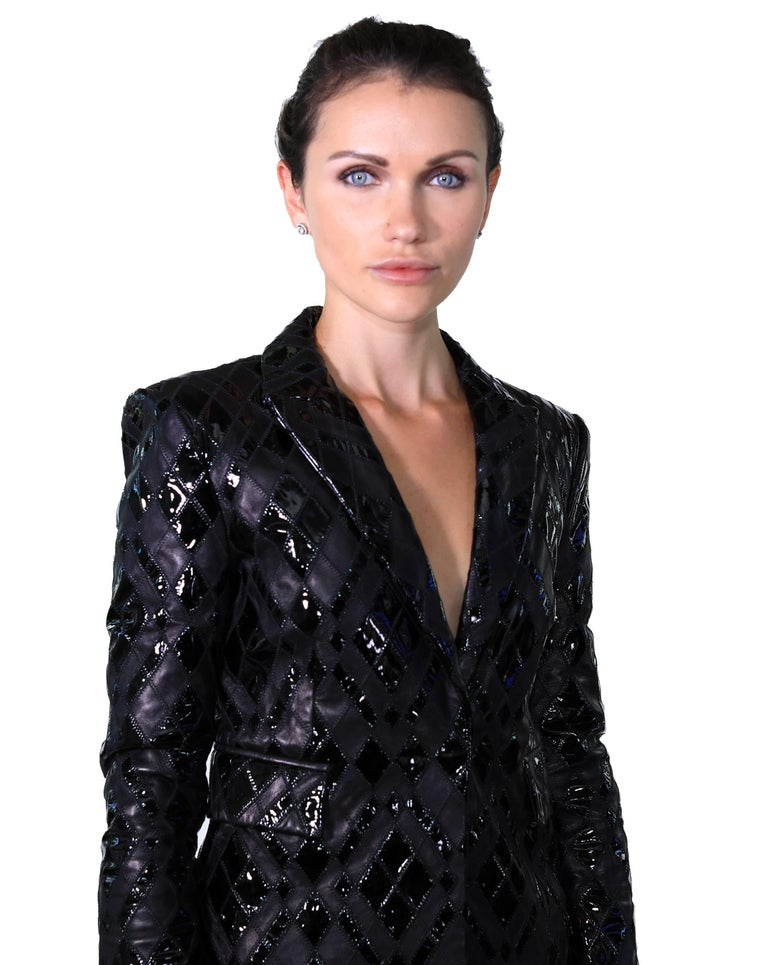 Versace Black Patchwork Leather Pant Suit For Sale 3