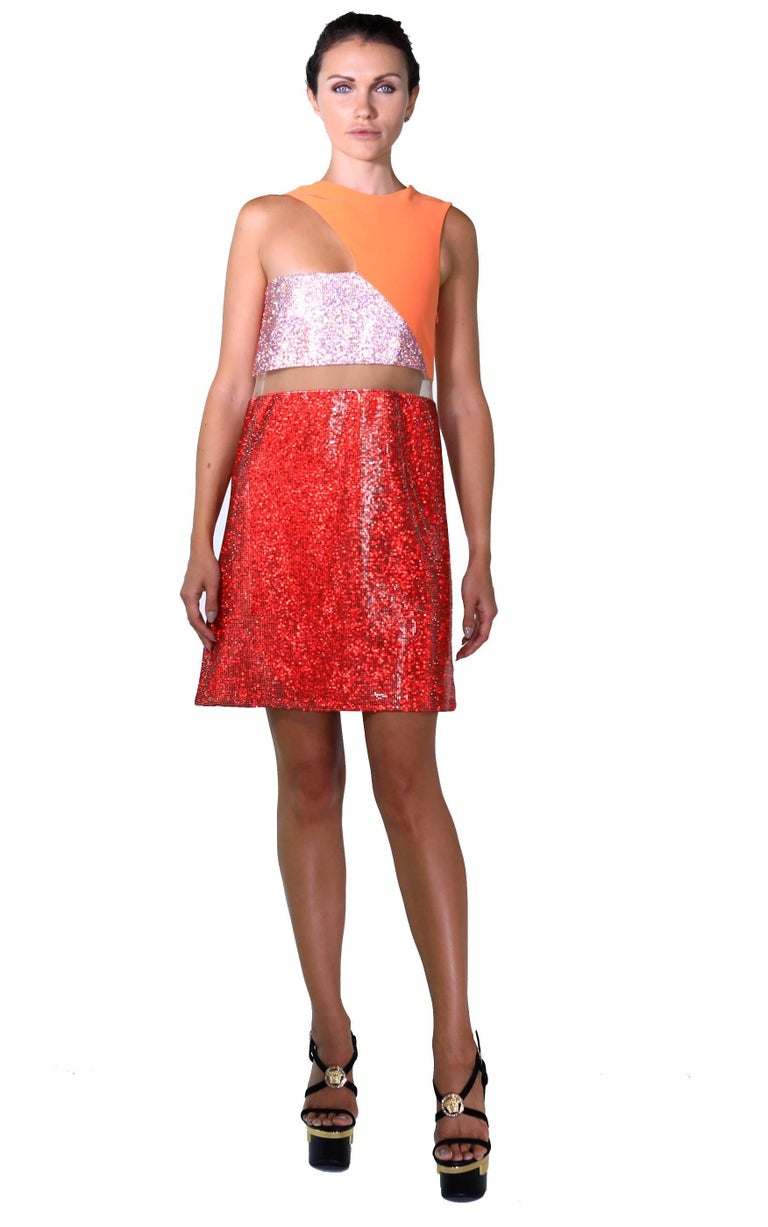 Red New Versace Color block Crystal Embellished Metal Mesh Dress For Sale