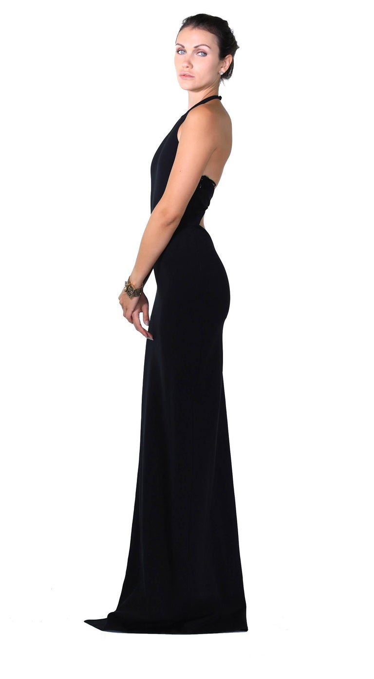 VERSUS VERSACE + Anthony Vaccarello Cut out along side long black dress gown For Sale 1