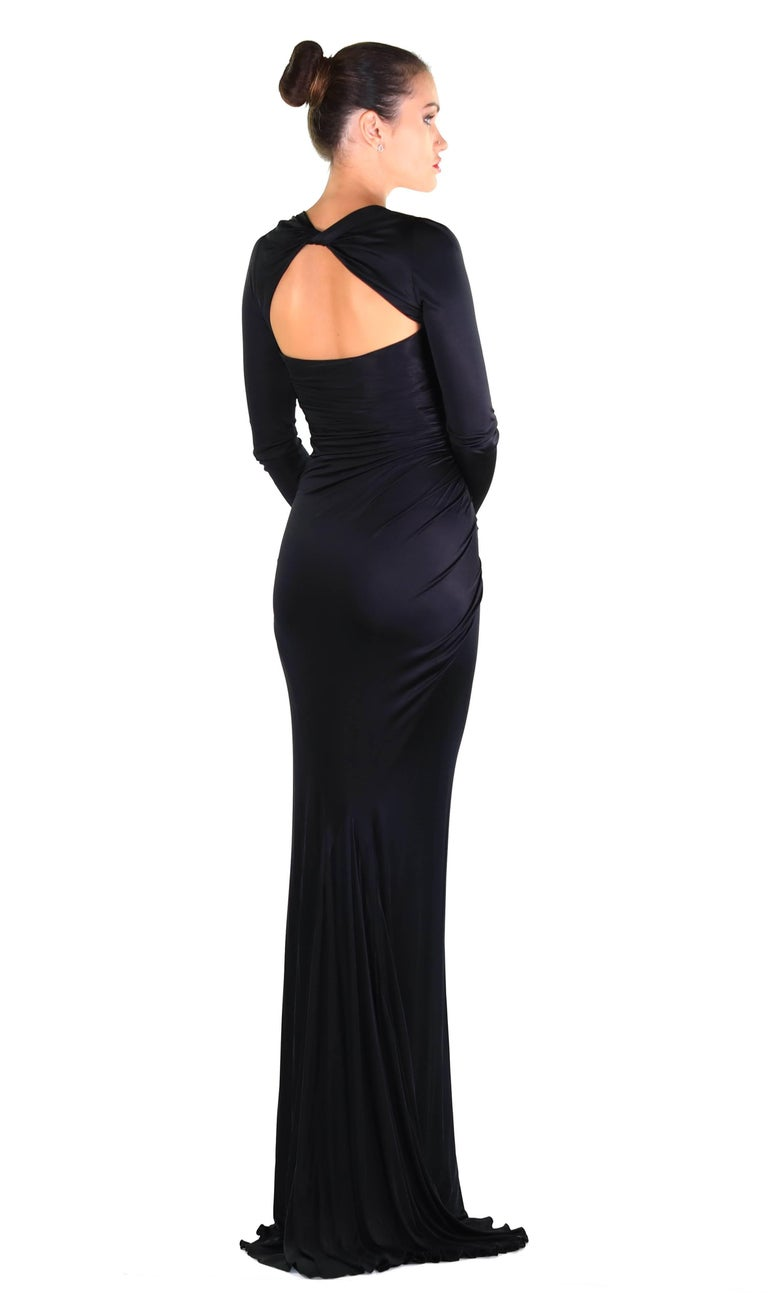 New Versace Black Long-Sleeve Stretch-Jersey Gown For Sale at 1stdibs