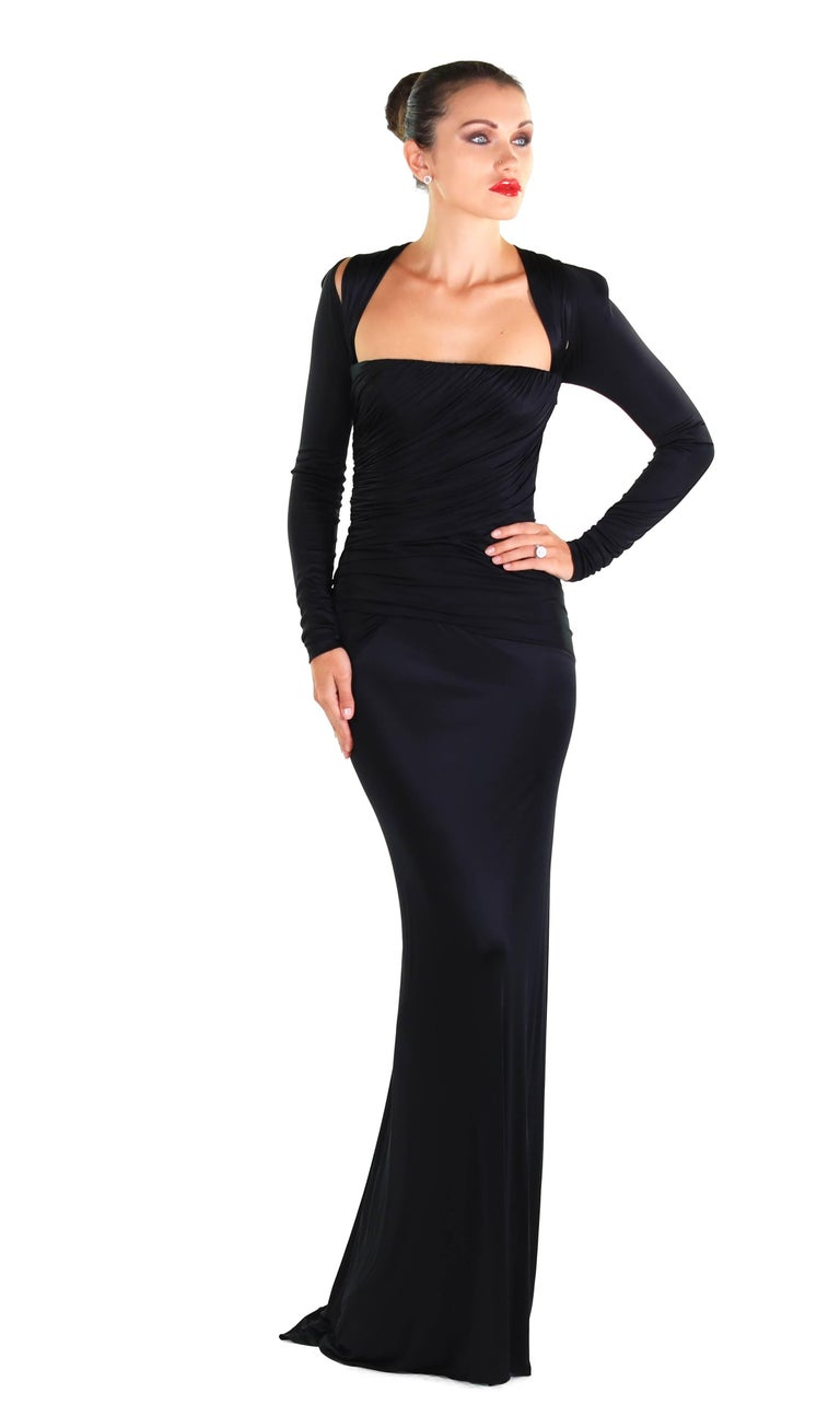 4da12fe437 New Versace Black Long-Sleeve Stretch-Jersey Gown