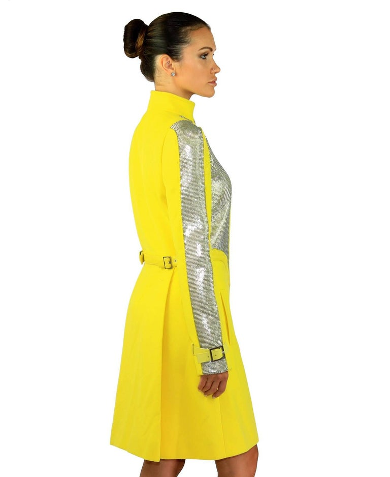 New VERSACE Chain Mesh Placket Coat in Yellow For Sale 2