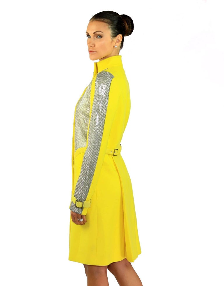 New VERSACE Chain Mesh Placket Coat in Yellow 5