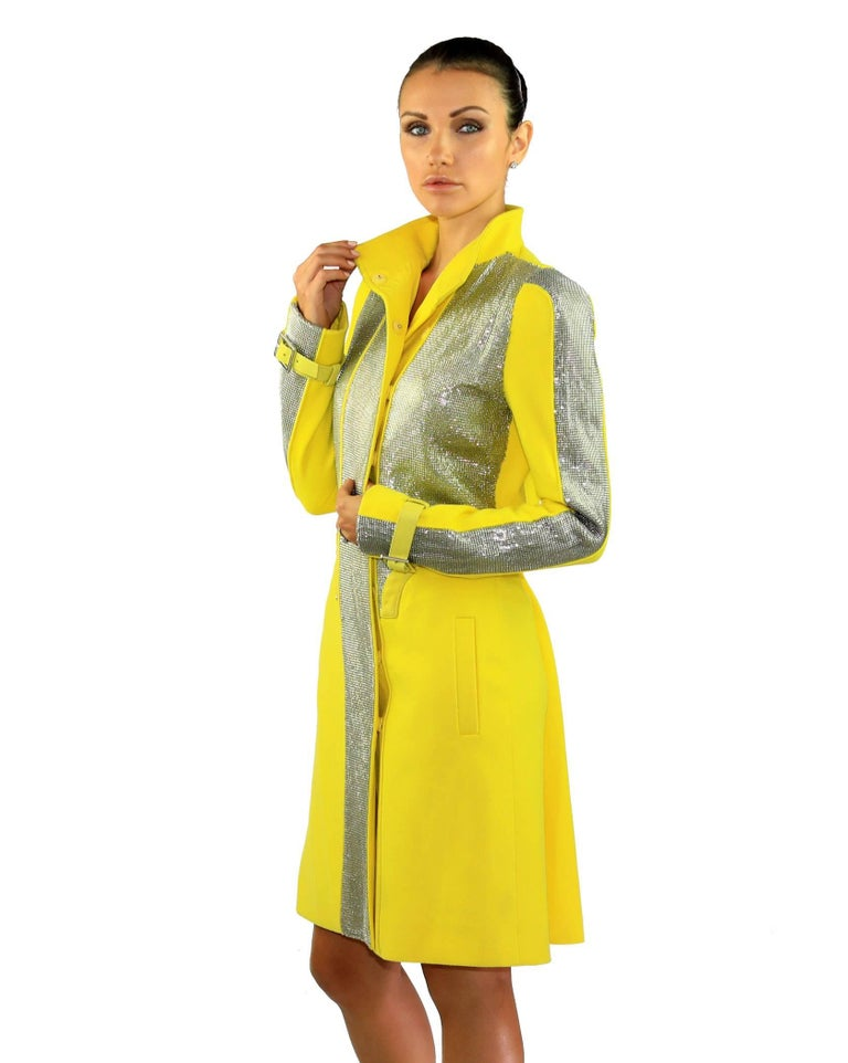 New VERSACE Chain Mesh Placket Coat in Yellow 7
