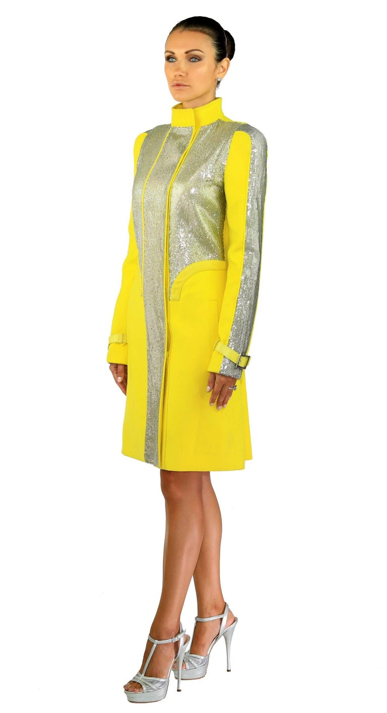 Women's New VERSACE Chain Mesh Placket Coat in Yellow For Sale