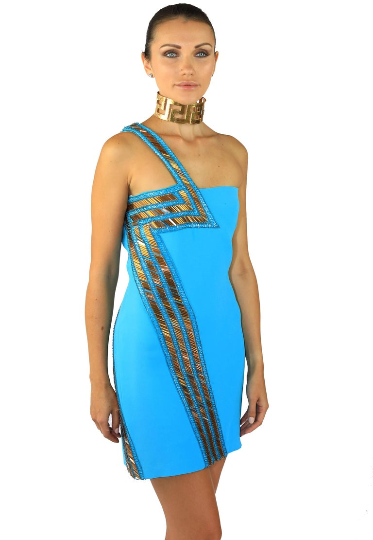 New Versace Blue Silk Embellished one shoulder dress In New never worn Condition For Sale In Montgomery, TX