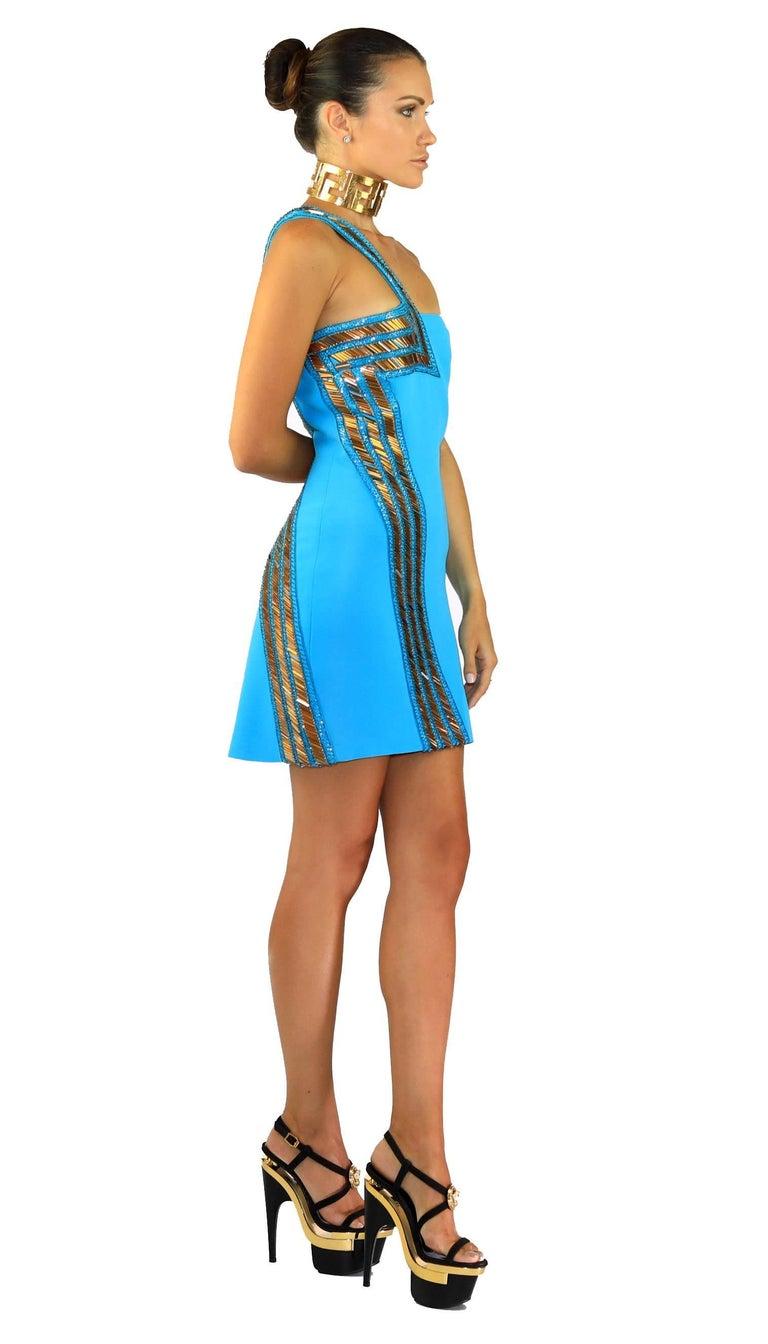 Women's New Versace Blue Silk Embellished one shoulder dress For Sale